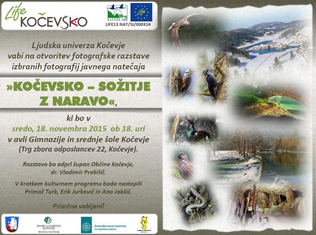 Otvoritev fotografske razstave izbranih fotografij javnega natečaja »KOČEVSKO – SOŽITJE Z NARAVO«
