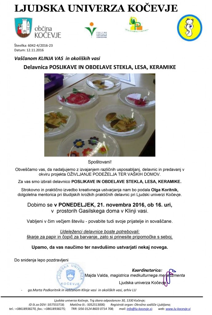 vabilo-OP-POLIKAVE LES KERAMIKA STEKLO-OlgaK-21-11-KLINJA VAS