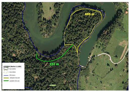 Didaktična učna pot ob Reškem jezeru pri Kočevski reki (Karto pripravil: ZGS OE Kočevje)